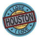 Grungefärgstämpeln med text älskar jag Houston inom royaltyfri illustrationer