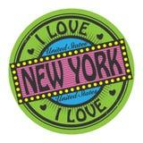 Grungefärgstämpeln med text älskar jag New York inom royaltyfri illustrationer