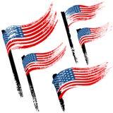 Grungeflagga av Amerikas förenta stater, borsteslaglängdbakgrund Arkivbilder