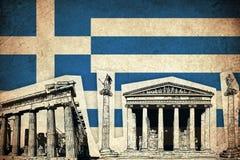 Grungeflagga av Grekland med monumentet Fotografering för Bildbyråer