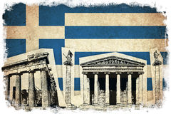 Grungeflagga av Grekland med monumentet Arkivbild