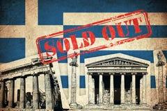 Grungeflagga av Grekland med monumentet Royaltyfria Bilder