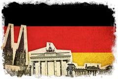 Grungeflagga av Tyskland med monumentet Royaltyfria Bilder