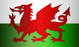 Grungeflagga av Wales stock illustrationer