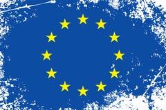 Grungeflagga för europeisk union Royaltyfria Bilder