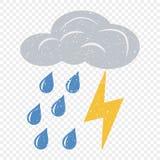 Grungegrå färger fördunklar med blixt- och regnsymbolen Tecknad filmillustration av moln med blixt- och regnvektorsymbolen för re vektor illustrationer