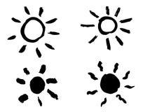 Grungehand getrokken zon Geïsoleerde vector, Royalty-vrije Stock Fotografie