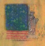 Grungeillustration av amerikanska flaggan med statyn av Libe Arkivbild