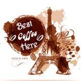 Grungekaffeaffischen med Eiffeltorn som målas av kaffe, stiliserar Arkivfoto