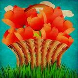 Grungekorg av tulpan stock illustrationer