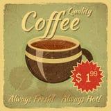 Grungekortet med kaffe kuper stock illustrationer