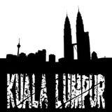 grungeKuala Lumpur horisont vektor illustrationer