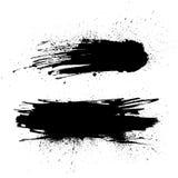 Grungemålarfärgband Vektorborsteslaglängd Bekymrat baner  vektor illustrationer