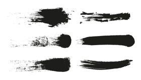 Grungemålarfärgband Vektorborsteslaglängd Bekymrat baner Svart isolerad målarpenselsamling Modern texturerad form vektor illustrationer