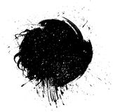 Grungemålarfärgband Vektorborsteslaglängd Bekymrat baner Svart isolerade målarpenseletiketten stock illustrationer