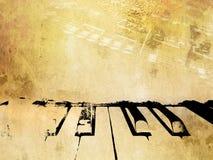 Grungemusikbakgrund - tappningpiano- och musikanmärkningar stock illustrationer