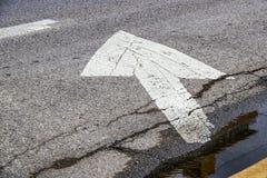 Grungepijl op ruwe asfaltstraat door gele rand en bevindend water wordt geschilderd dat stock afbeelding