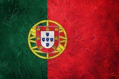 GrungePortugal flagga Portugal flagga med grungetextur Arkivbilder