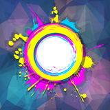 Grungeram på abstrakt mångfärgad geometrisk bakgrund w Arkivfoto