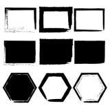 Grungeramar ställde in, svart på vit bakgrund, illustration stock illustrationer