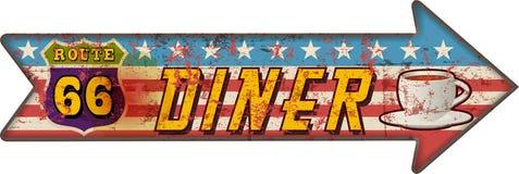 Grungeroute zesenzestig diner retro teken van de pijlwegwijzer, stock illustratie