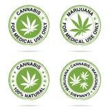 Grungerubber van marihuanareeks in groene illustratie Royalty-vrije Stock Foto's