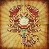 grungescorpiozodiac Royaltyfri Fotografi