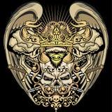 grungeskallevapensköld Royaltyfria Bilder