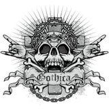 grungeskallevapensköld Royaltyfri Bild