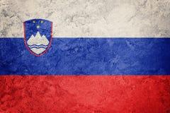 GrungeSlovenien flagga Slovenien flagga med grungetextur Arkivfoton