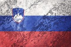 GrungeSlovenien flagga Slovenien flagga med grungetextur Royaltyfria Bilder