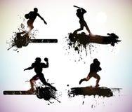 Sportsilhouettes Royaltyfria Bilder