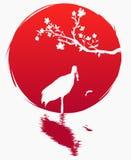 Grungestilflagga av Japan En filial med sakura blommor och en japansk kran med fisken på bakgrunden av den röda solen Sakura stock illustrationer