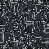 Grungesvart tavla med sömlösa modeller av kaffeuppsättningen Ideal för Royaltyfria Foton