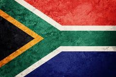 GrungeSydafrika flagga Sydafrika flagga med grungetextur Arkivbilder