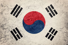GrungeSydkorea flagga Sydkorea flagga med grungetextur Arkivfoton