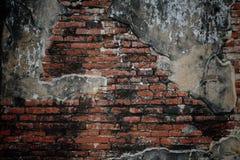 Grungetegelstenvägg med sprucket cement Royaltyfria Foton