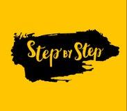 Grungeteken stap voor stap op gele achtergrond Vector stock illustratie