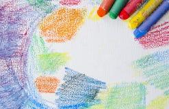 Grungetextur av pastellfärgade slaglängder Färgpennor gör sammandrag grungebakgrund Ramdesignbeståndsdel Blyertspennadesignbestån Arkivbilder
