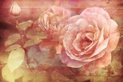 Grungetextuur met bloemenachtergrond in uitstekende stijl romantisch Stock Afbeelding