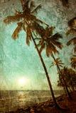Grungetextuur met oceaanlandschap in uitstekende stijl Mooi royalty-vrije stock fotografie