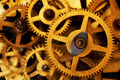Grungetoestel, de achtergrond van radertjewielen Industriële wetenschap, uurwerk, technologie Stock Afbeeldingen