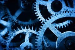 Grungetoestel, de achtergrond van radertjewielen Industriële wetenschap, uurwerk, technologie Stock Fotografie