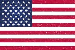 GrungeUSA flagga Amerikanska flaggan med grungetextur Vektorflagga av USA royaltyfri illustrationer