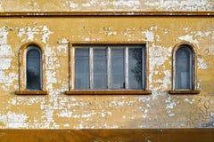 Grungevägg av det gamla huset texturerad bakgrund Royaltyfri Foto
