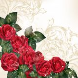 Grungevektorbakgrund i tappningstil med steg blommor Royaltyfria Foton