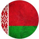 GrungeVitryssland flagga Belorussian knappflagga som isoleras på vit b stock illustrationer