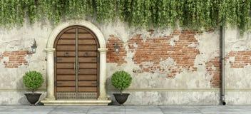 Grungevoorgevel met houten deuropening Royalty-vrije Stock Afbeelding