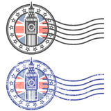 Grungezegel met Big Ben en Britse vlag Stock Foto's