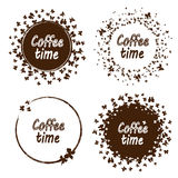 Grungezegel met binnen de tekst van de koffietijd Reeks van de zegel van de koffietijd met vlekken vector illustratie